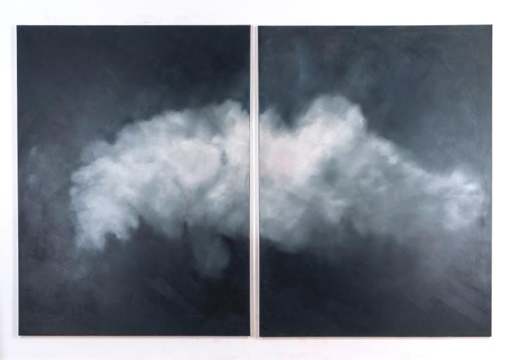 Cloud project (Klingenberg, 52° 29′ 24″ N, 013° 29′ 45″ O, oil on canvas, 200x 300, 2017